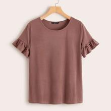 Einfarbiges T-Shirt mit Ruesche an Ärmeln