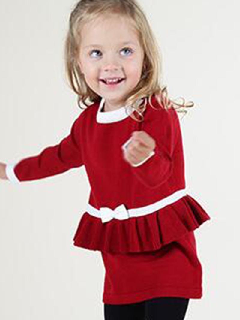 Ericdres Plain Falbala Christmas Girls Dress