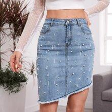 Asymmetrical Hem Pearls Beaded Denim Skirt