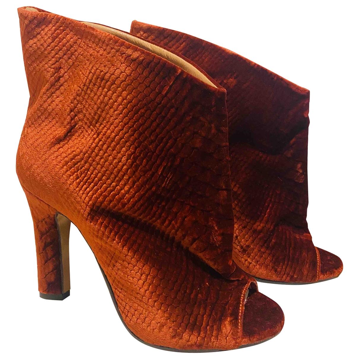 Maison Martin Margiela - Boots   pour femme en velours - rouge