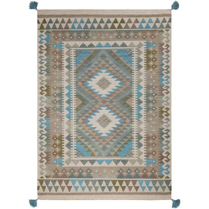 Adia DIA-2006 8' x 10' Rectangle Rustic Rugs in Sage  Camel  Taupe  Teal  Dark
