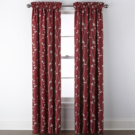 JCPenney Home Malone Leaf Embroidered Blackout Rod-Pocket Single Curtain Panel, One Size , Red