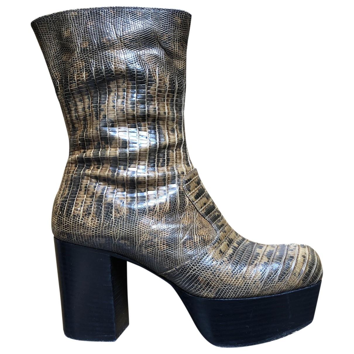 Miu Miu - Boots   pour femme en python - camel