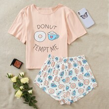 Cartoon And Slogan Graphic Pajama Set
