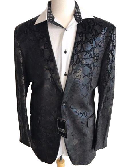Men's Black sequin One Button jacket Snakeskin print fashion blazer