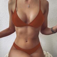 Solid Triangle Bikini Swimsuit
