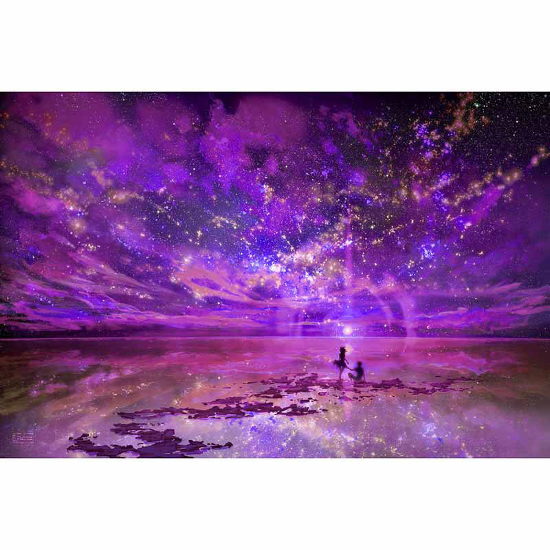 Galaxy DIY Coloring Game Digital Printed Oil Painting with Acrylic Paint Color Pens and Pine Framework