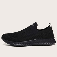 Maenner minimalistische Strick Slip On Sneakers