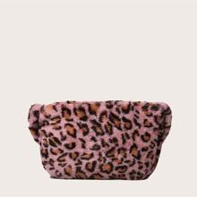 Bolsa de hombro mullida de leopardo de niñas