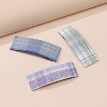 3pcs Plaid Pattern Hair Clip