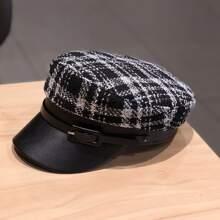 Plaid Buckle Baker Boy Hat