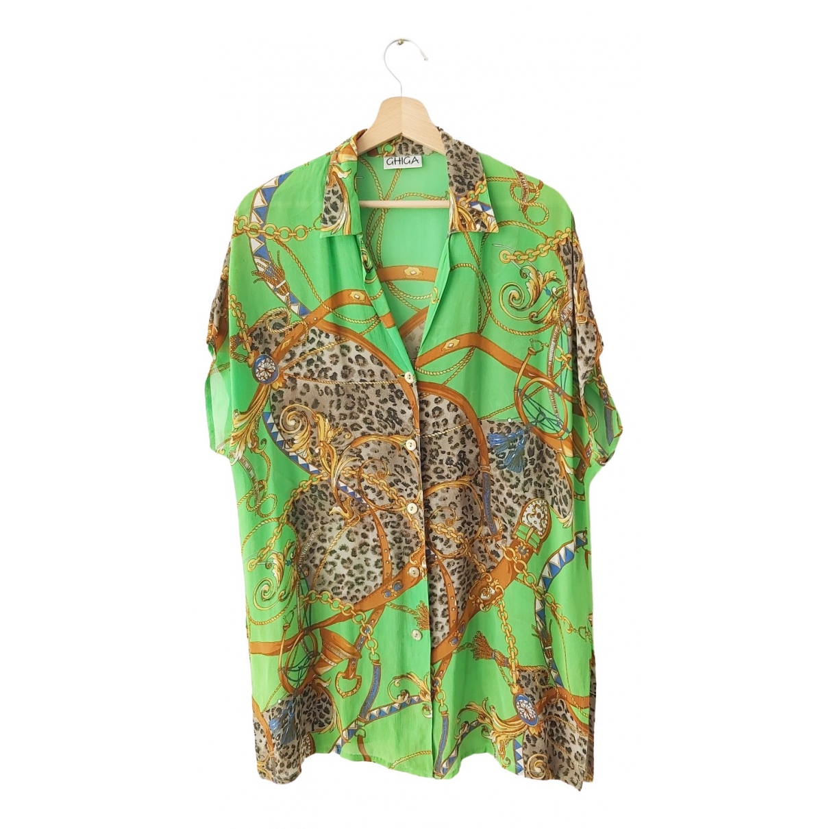 Non Signé / Unsigned Oversize Green  top for Women XL International