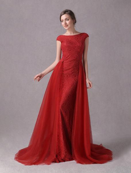 Milanoo Vestidos de noche vestido formal sin espalda de tul de encaje rubi con tren