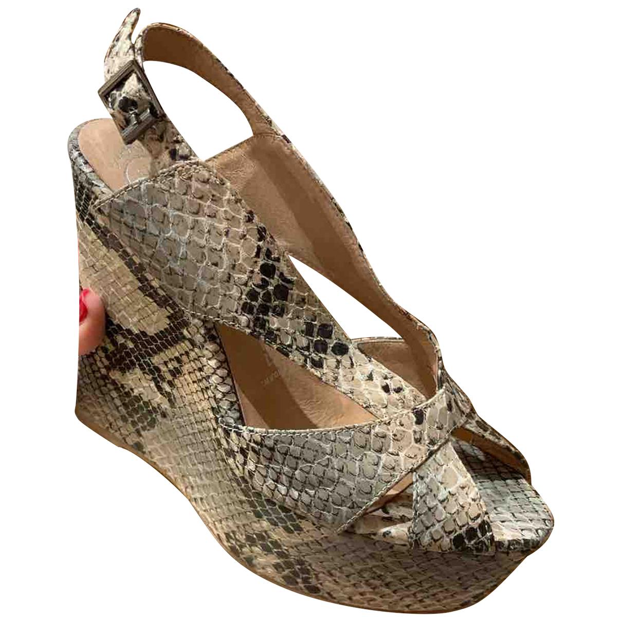 Jeffrey Campbell N Beige Leather Heels for Women 37 EU