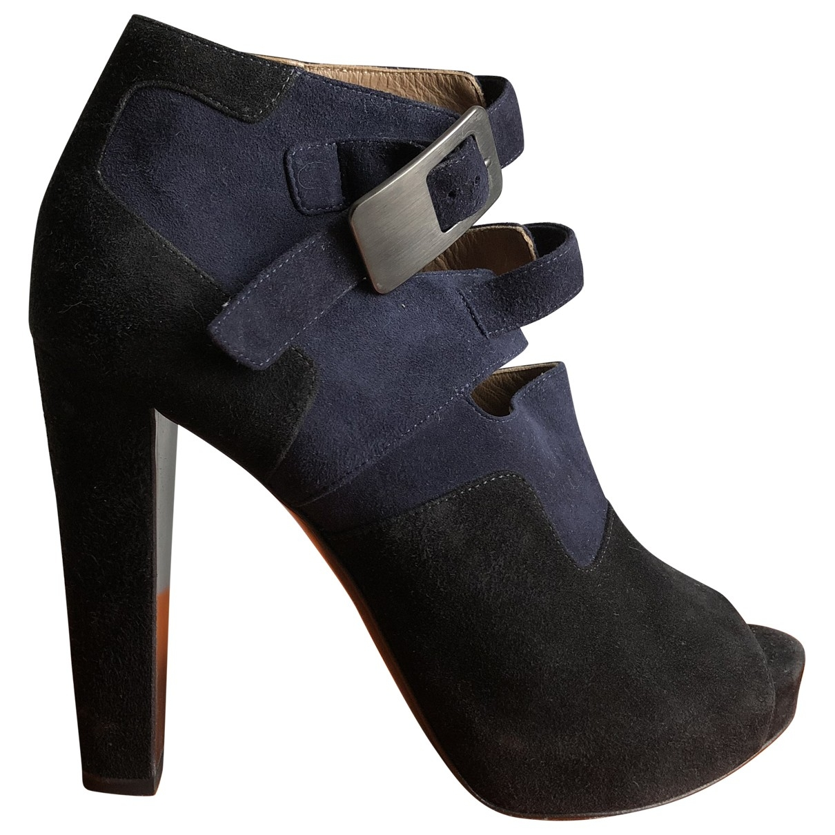 Hermès \N Navy Suede Ankle boots for Women 36.5 EU