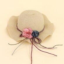Girls Flower Decor Straw Hat