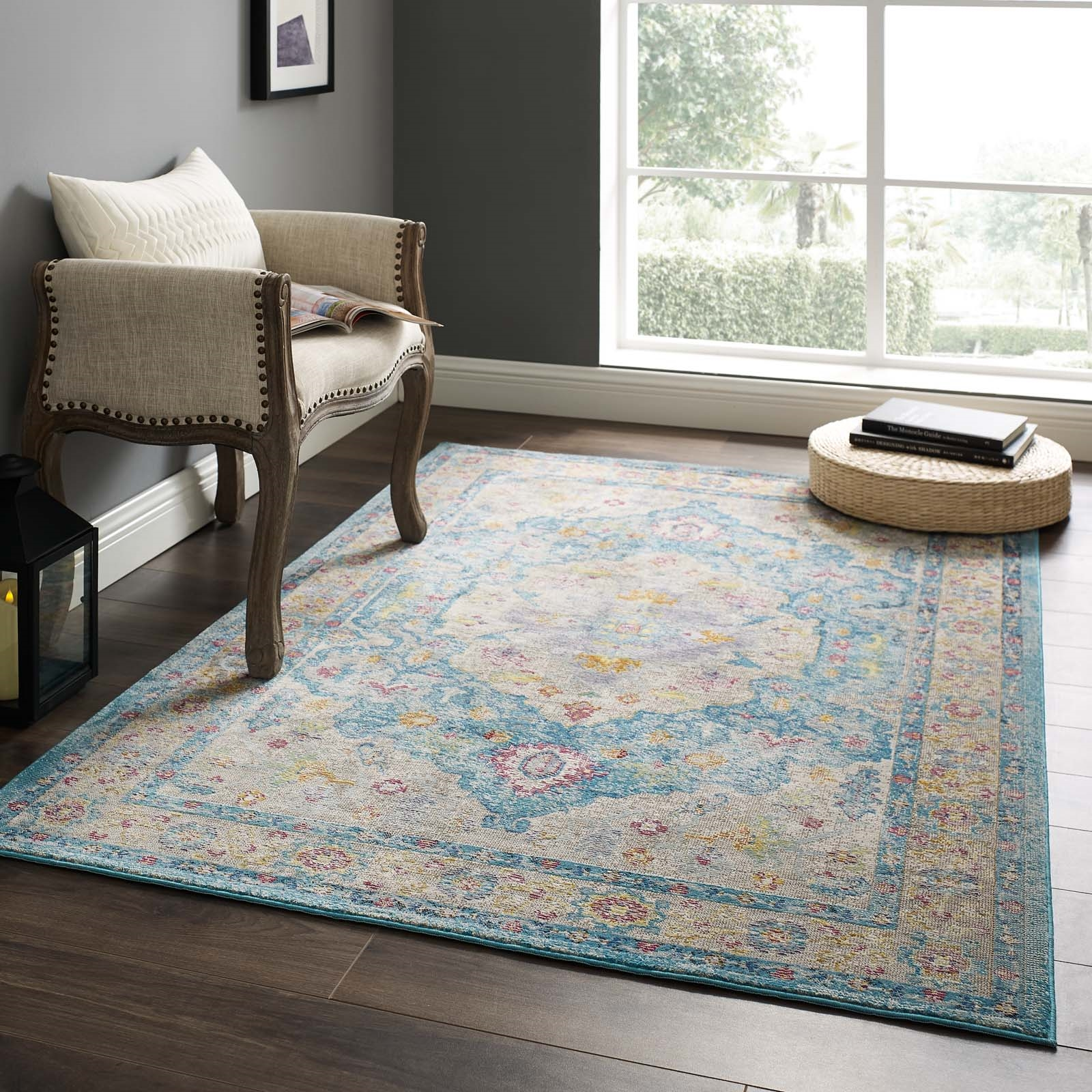 Success Anisah Distressed Floral Persian Medallion 4x6 Area Rug in Light Blue, Ivory, Yellow, Orange