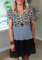 Color Block Leopard Striped Splicing Mini Dress without Necklace