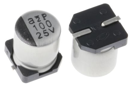 Nichicon 100μF Electrolytic Capacitor 25V dc, Surface Mount - UWT1E101MCL1GS (10)