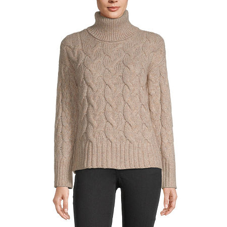 a.n.a Womens Turtleneck Long Sleeve Pullover Sweater, Petite Medium , Brown