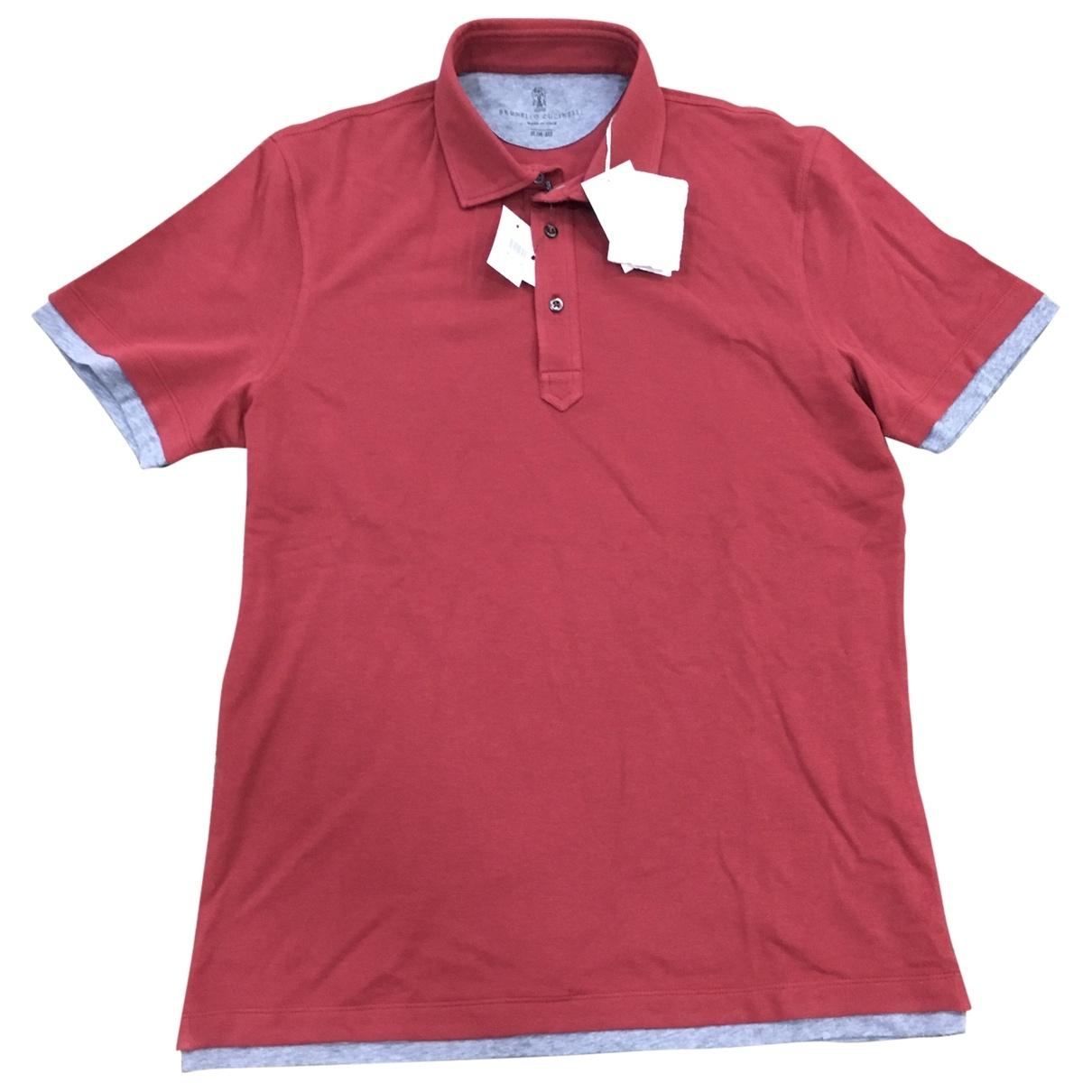 Polo en Algodon Rojo Brunello Cucinelli