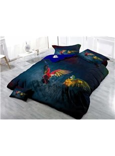 Flying Parrots Wear-resistant Breathable High Quality 60s Cotton 4-Piece 3D Bedding Sets