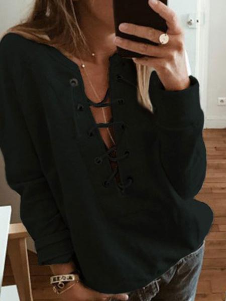 Milanoo Camiseta de manga larga con cuello en v informal de poliester gris para mujer