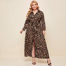 Plus Leopard Print Belted Dress