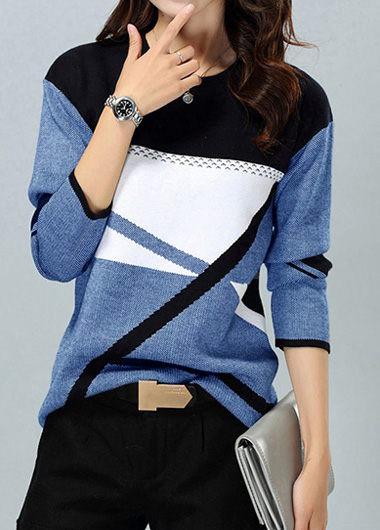 Trendy Round Neck Geometric Pattern Long Sleeve Blue Sweater - L