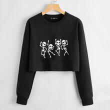 Crop Sweatshirt mit Skelett Muster und ungesaeumtem Saum