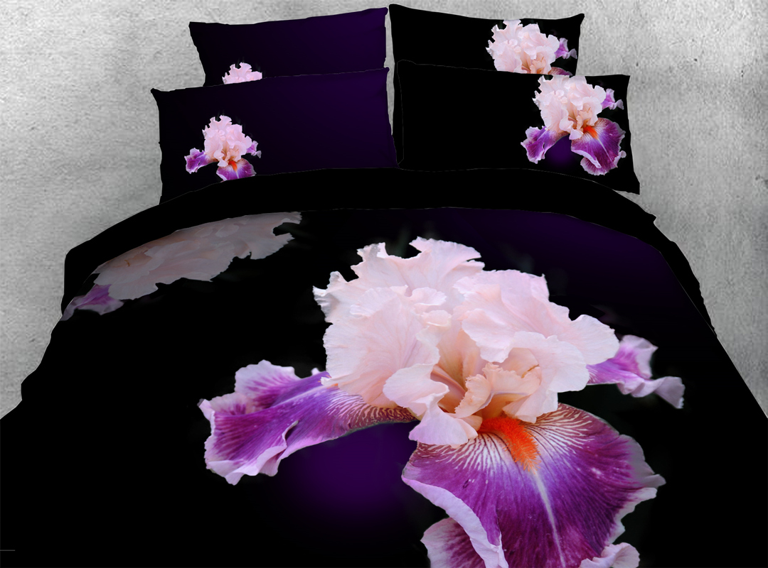 Iris Durable 3D 4-piece Floral Bedding Sets No-fading Soft Reactive Printing Zipper Duvet Cover with Ties