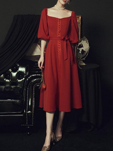 Milanoo Women\s Cocktail Dress Burgundy Fashion Tea-Length A-Line Sweetheart Neck Lace