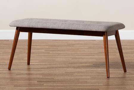 FLORA2-LIGHTGREY/MEDIUMOAK-BENCH Flora II Mid-Century Modern Light Grey Fabric Upholstered Medium Oak Finished Wood Dining