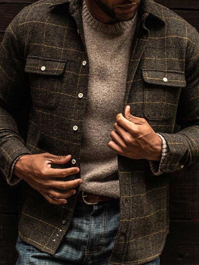 Ericdress Pocket Plaid Lapel Single-Breasted Spring Jacket