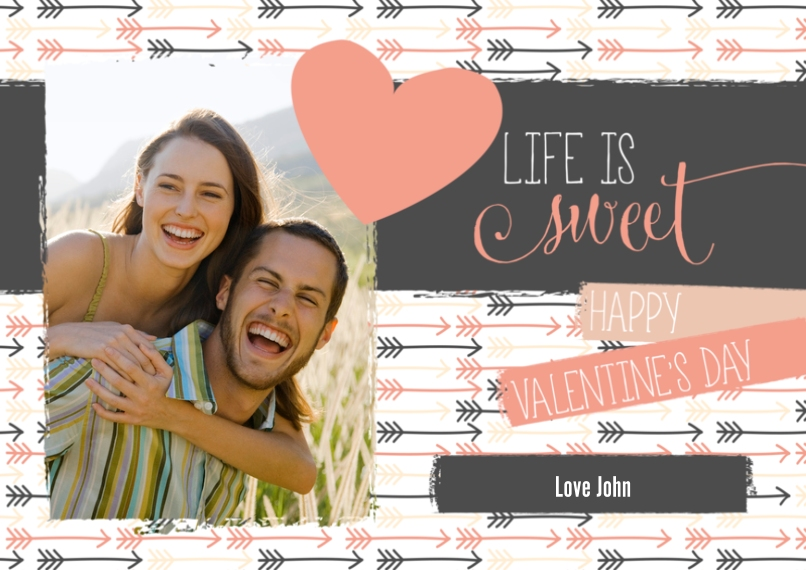 Valentine's Cards 5x7 Cards, Standard Cardstock 85lb, Card & Stationery -Life is Sweet Arrows