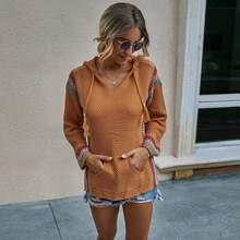 Pullover mit Streifen, Quasten, Kordelzug und Kapuze