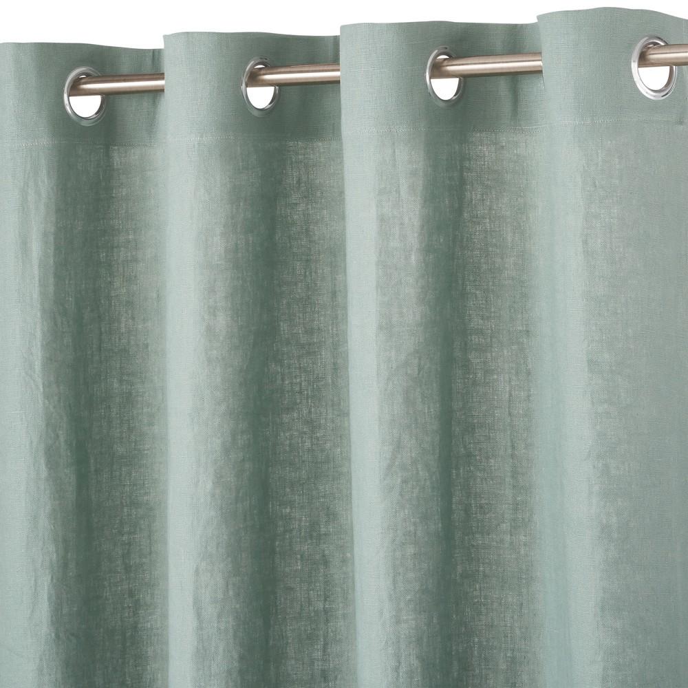 Osenvorhang aus gewaschenem Leinen, gruenspanfarben, 1 Vorhang 130x300