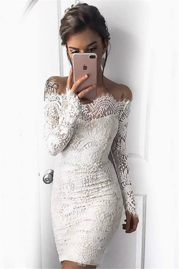 Simple White Long-Sleeve Mermaid Short Cocktail Party Dresses