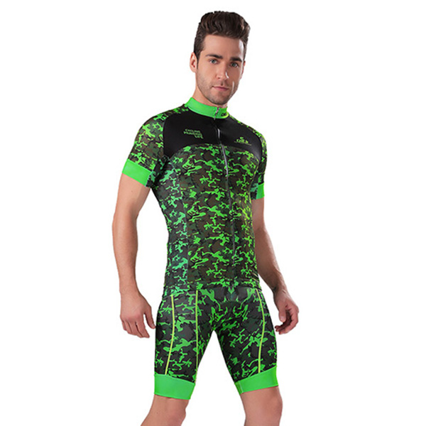 Male Grey Camouflage Breathable Road Bike Jersey with Zipper 3D Padded Cycling Suit
