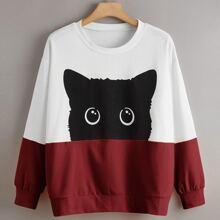 Sweatshirt mit Farbblock, Katze Muster und sehr tief angesetzter Schulterpartie