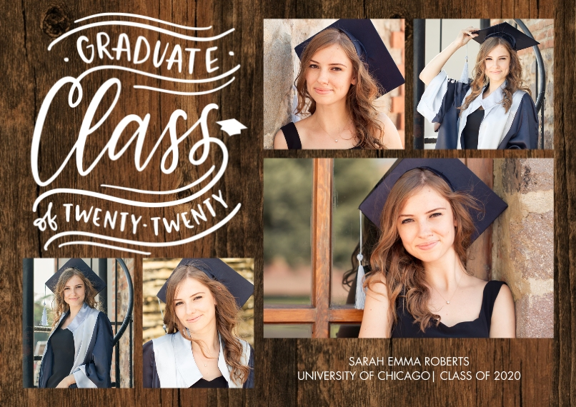 2020 Graduation Announcements 5x7 Cards, Premium Cardstock 120lb with Scalloped Corners, Card & Stationery -Graduate 2020 Class by Tumbalina