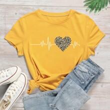 Heart And Leopard Print Short Sleeve Tee