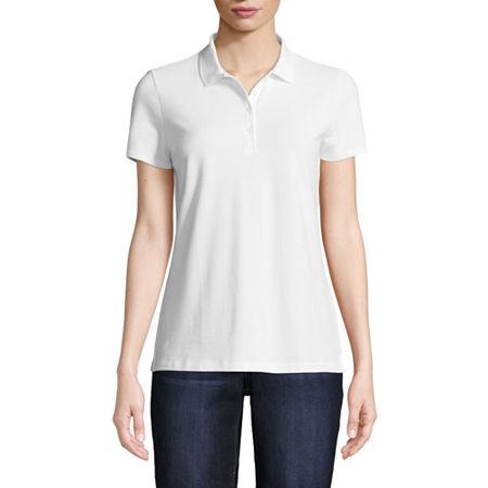 St. John's Bay Tall Womens Short Sleeve Knit Polo Shirt, Large Tall , White