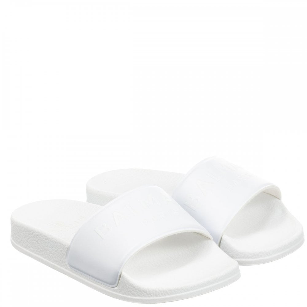 Balmain Embroidered Logo Sliders Size: 35, Colour: WHITE
