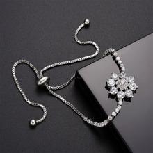 Rhinestone Flower Design Bracelet 1pc