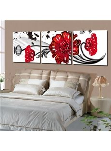 New Arrival Lovely Big Red Cartoon Flowers Print 3-piece Cross Film Wall Art Prints