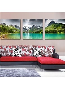 Elegant Valley and Lake Print 3-piece Cross Film Wall Art Prints