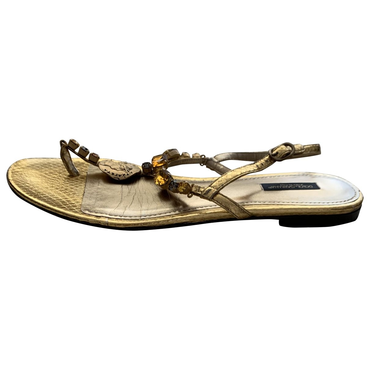 Dolce & Gabbana \N Gold Leather Sandals for Women 41 EU
