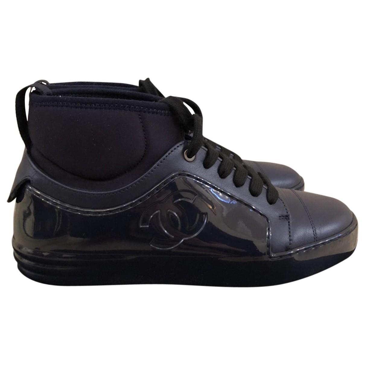 Chanel Ankle Strap Sneakers in  Marine Leder