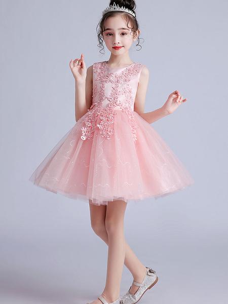 Milanoo Flower Girl Dresses Pink Jewel Neck Short Sleeves Embroidered Formal Kids Pageant Dresses
